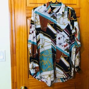 Zara patchwork chain print blouse
